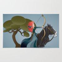 merida Area & Throw Rugs featuring Sagittarius - Princess Merida by AmadeuxArt