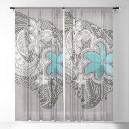 Teal Hawaiian Floral Tattoo Design Sheer Curtain