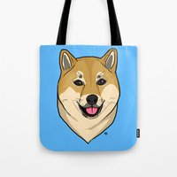 shiba Tote Bags featuring Shiba Inu by Bleachydrew