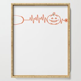 Halloween Gift for Nurses and Doctors - Pumpkin Stethoscope Heartbeat Serving Tray