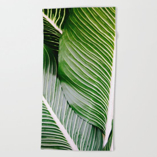 Big Leaves - Tropical Nature Photography Beach Towel