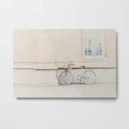 a mint green bicycle is the perfect way to travel around Cambridge Metal Print