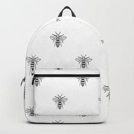Linocut bee minimal nature insect printmaking black and white bees wasps Backpack