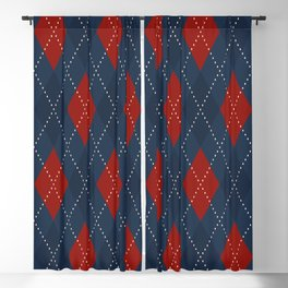 Christmas plaid argyle pattern. Royal blue ardent red diamond motif. Vintage atmosphere ornament small check golden stitches. Home holiday decoration, interior textile, fabric cloth, invitation card.  Blackout Curtain