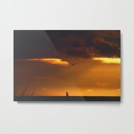 Saiboat at Sunset Metal Print