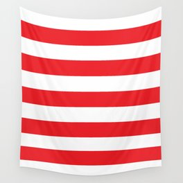 Huawei Red (1987-2018) - solid color - white stripes pattern Wall Tapestry