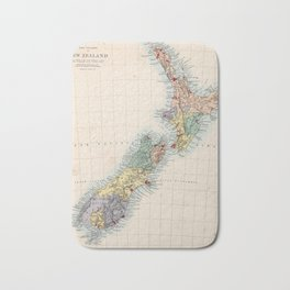 Vintage Map of New Zealand (1865) Bath Mat