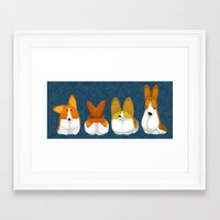 corgi Framed Art Prints featuring Corgi by Melissa van der Paardt