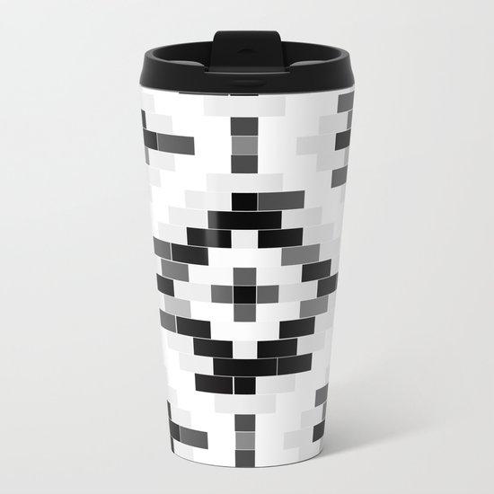 Venetian bricks -Black & white Metal Travel Mug