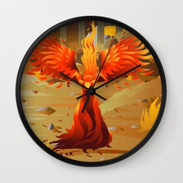fire elemental fantasy winged creature on wastelands Wall Clock