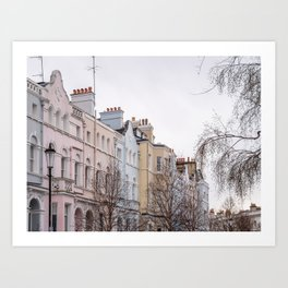 Colorful Notting Hill Apartment Buildings in London Art Print
