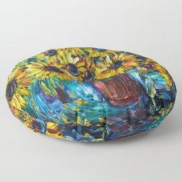 SUNFLOWERS — Palette knife Floor Pillow