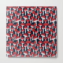 Red mushrooms field on navy blue Metal Print