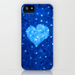 Winter Blue Crystallized Abstract Heart iPhone Case