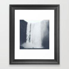 Dark & Eerie Waterfall in Nature Framed Art Print