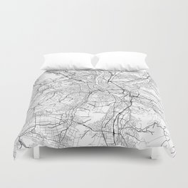 Basel Map White Duvet Cover