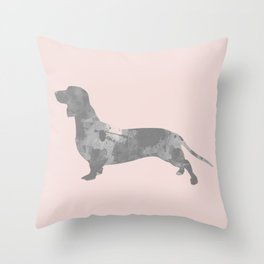 Dachshund pink and black Throw Pillow