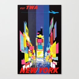 1960 New York Fly TWA Vintage Airline Poster Canvas Print