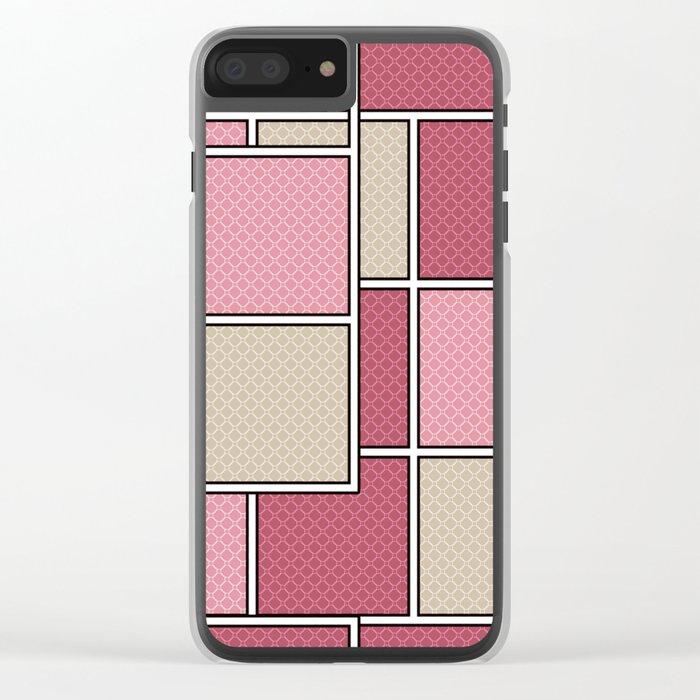 Pink beige check . Clear iPhone Case