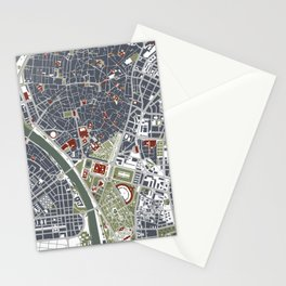 Seville city map engraving Stationery Cards