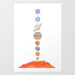 Solar System Watercolor Artwork Art Print