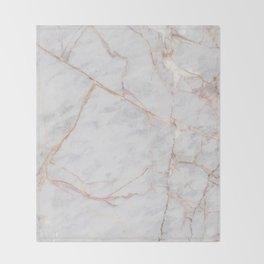 White Italian Marble & Gold Throw Blanket