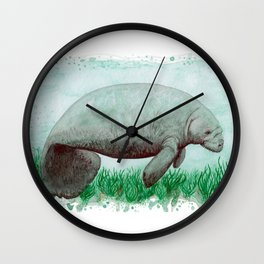 """The Manatee"" by Amber Marine ~ Watercolor Painting, (Copyright 2015) Wall Clock"