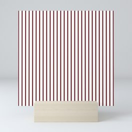 Royal Rose Red Pinstripe on White Mini Art Print