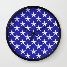 Starfishes (White & Navy Blue Pattern) Wall Clock