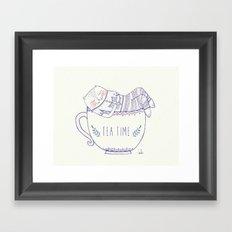 tea cat Framed Art Print