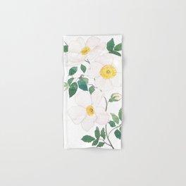white wild Rosa rubiginosa watercolor Hand & Bath Towel