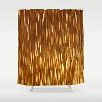 gold glitter Shower Curtains featuring Gold Glitter 1394 by Cecilie Karoline
