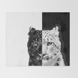 Split snow leopard Throw Blanket