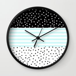 Modern black white teal stripes watercolor polka dots Wall Clock
