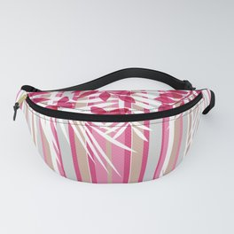 Red butterflies and pink striped leaves on a white background . Fanny Pack