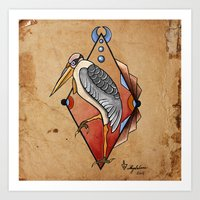 "crane Art Prints featuring ""CRANE"" by Magdalena Sky - The Moth"