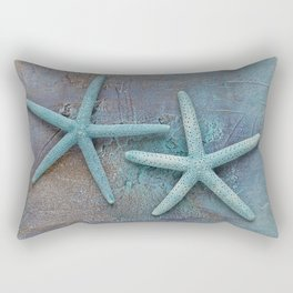 Turquoise Starfish on textured Background Rectangular Pillow