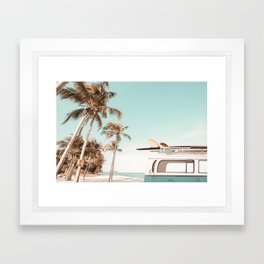Retro Camper Van with Surfboard at the Beach Framed Art Print