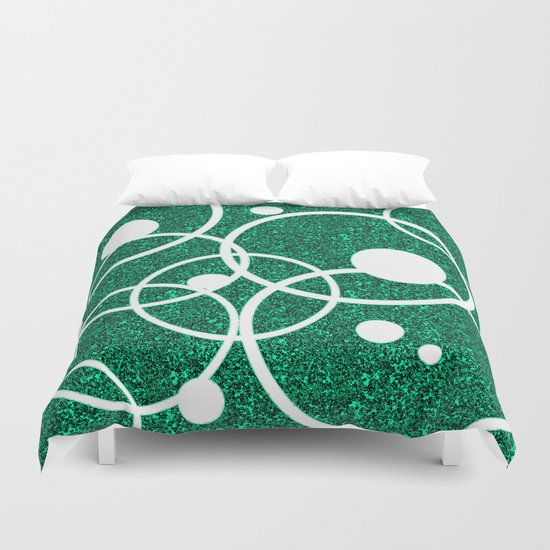 Circles on Green and Black Duvet Cover