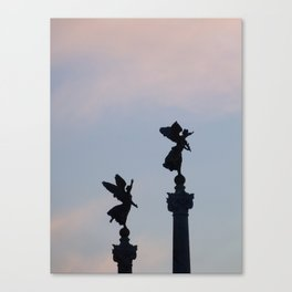 Vittoriano angels at sunset 1 Canvas Print