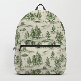 Green Alien Abduction Toile De Jouy Pattern Backpack