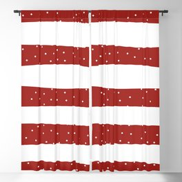 Christmas Simple seamless pattern Snow confetti on White and Red Stripes Background Blackout Curtain