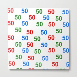 number pattern, colorful pattern 50, anniversary 50, gift 50 Metal Print