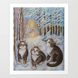 Fairy Art - Kittens and the Snow Fairy Art Print