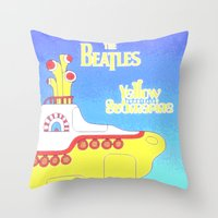 submarine Throw Pillows featuring submarine by Emma Kennedy