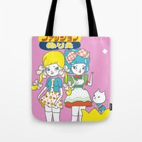 anime Tote Bags featuring Retro Anime by Mel Stringer
