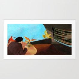 Old man painting pigeons children's book illustration Art Print