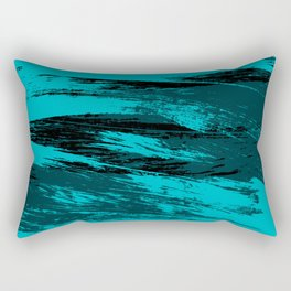 Big Wave : Aqua, blue, and black ink strokes Rectangular Pillow