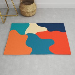 Retro color palette abstract minimalist abstract art Rug