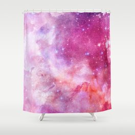 Blush Pink and Ultra Violet Celestial Galaxy Shower Curtain